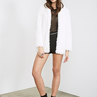 FOREVER 21 Collarless Faux Shearling Coat Cream
