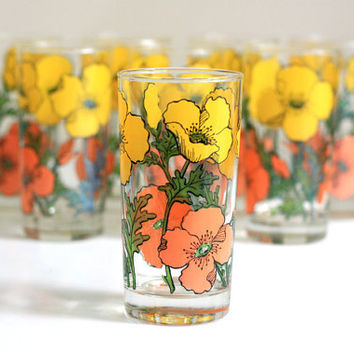 Set of Eight Vintage Poppy Tumblers by WiseApple on Etsy