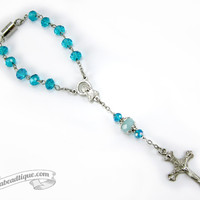 Turquoise Car Rosary auto rosary rear view mirror rosary single decade rosary turquoise rosary gift catholic rosaries pocket rosary travel