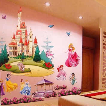 Colorful Princess Castle Vinyl Wall Decal
