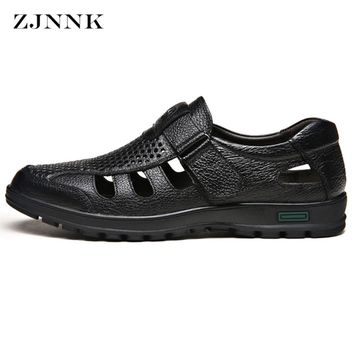 ZJNNK New Men Sandals Made Of Cow Leather Black Brown Hand Sewing Male Summer Shoes Breathable Beach Men Shoes