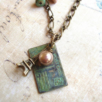 Postcard from Paris. Vintage-Inspired Charm Necklace. Paris Necklace. Vintage Necklace. Bird Necklace. Postcard Charm Necklace.