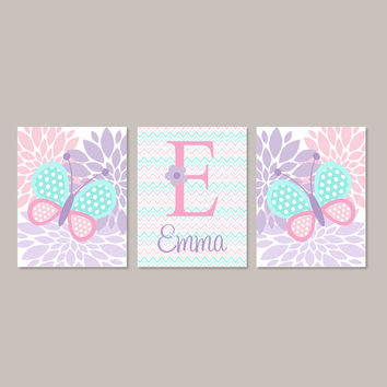 Baby Girl Nursery Decor BUTTERFLY Wall Art Pink Aqua Lavender Lilac Nursery Decor Monogram Name Set of 3 Prints Or Canvas Flower Nursery