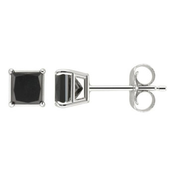 10k White Gold Over Silver 1 Ct Princess Black Cz Stud Earrings