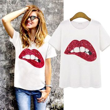 DCCKXT7 Personality Fashion Casual Big Lips Sequin Embroidered Short Sleeve Round Neck T-shirt Tops