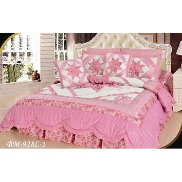 DaDa Bedding Girly Girl Pink Floral Stars Ruffles Comforter Set - Cal King - 5-PCS (BM928L-1)