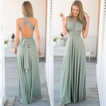 Sexy Women Boho Maxi Club Dress Ladies Red Bandage Long Dress Party Multiway Bridesmaids Solid Summer Dresses Long Female DLD734