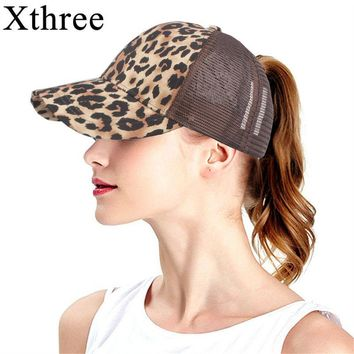 Trendy Winter Jacket Xthree  Leopard Print Summer Ponytail Baseball Cap Mesh Hats For Women Messy Bun Casual Hip Hop Snap back Gorras Hombre hats AT_92_12
