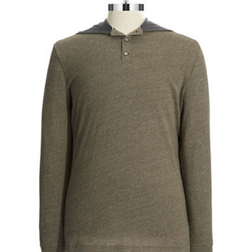 Black Brown 1826 Cotton Hooded Henley Knit Shirt