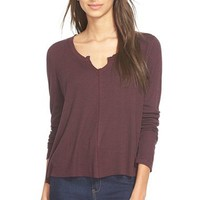 Madison & Berkeley Split Neck Thermal Tee | Nordstrom