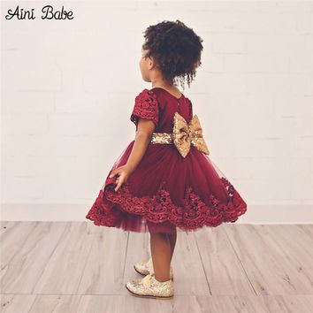 Aini Babe Bow Flower Wear Wedding bridal Girl Dress Party Birthday Princess Toddler Baby Girl Clothes Children Tulle Lace Tutu