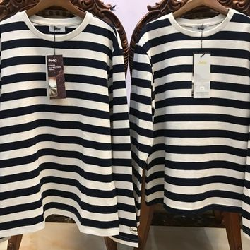 KUYOU JEEP men and women lovers color matching stripes round neck long sleeve T-shirt
