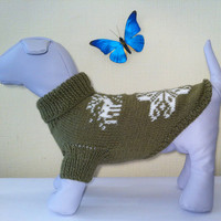 Knit Winter Sweater For Big Dog. Handmade Knit Dog Clothing. Sweater For Pet Dog. Size XL