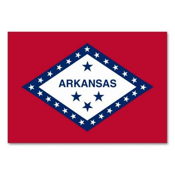 Patriotic table card with Flag of Arkansas