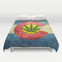 Retro Colorado State flag with the leaf - Marijuana leaf that is! Duvet Cover by Bruce Stanfield