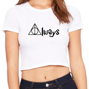 Always Deathly Hallows Harry Potter Crop T-shirt