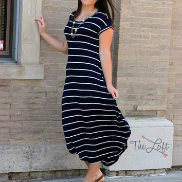 Navy & White Stripe Maxi with Side Pockets