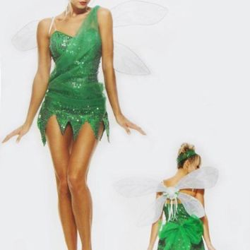 ESBON Halloween costumes for women elf Tinker Bell cosplay costume Fairy Princess dress Elves fancy dress kids clothes with wings