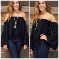 Eden Cove Black Open Shoulder Top