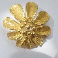 TRIFARI  Gold Tone Flower Brooch
