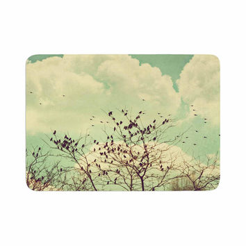 "Sylvia Coomes ""Birds of a Feather"" Green Brown Memory Foam Bath Mat"