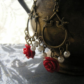 Birds red rose and  Pearls Aged looking dangle earrings 2 1/2 inches Wedding Bridesmaid jewelry