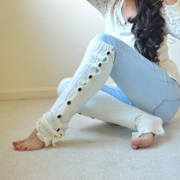 Cozy Ivory Leg Warmers with Ivory Lace Trim