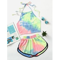 Hot Sale Trending Women Sexy Halter Tie-Dyed Print Rainbow Color Sleeveless Backless Crop Top Shorts Two Piece Suit Yellow/Blue I12323-1