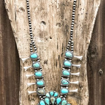 Necklace - Don't Miss Texas Faux Turquoise Squash Blossom