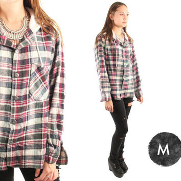 JESSIE 90s Rad Grunge Slouchy Flannel Plaid Hooded Garage Band Nirvana Button Up Long Sleeve Top Medium