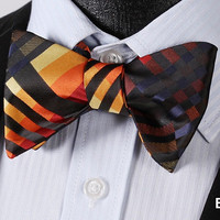 E718 ORANGE, BLACK Plaid Check Bow Tie 100%Silk Men Classic Wedding Butterfly Se