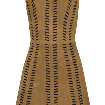 Maje Rigolette perforated-paneled suede mini dress – 60% at THE OUTNET.COM