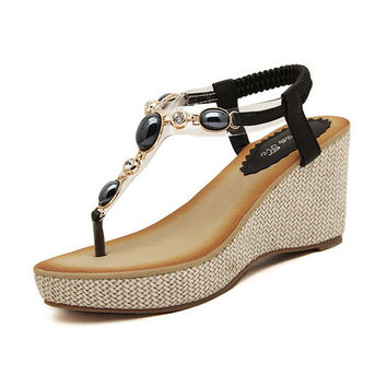 Summer Stylish Design Wedge Bohemia Diamonds Shoes Sandals [4920336516]