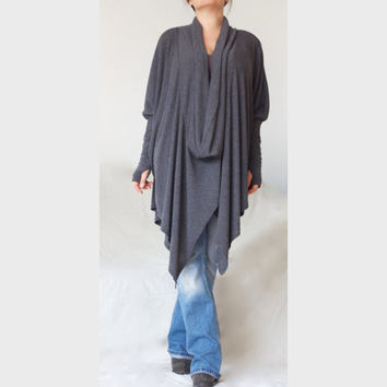 Oversize Wide Loose Sweater / Turtle V Neck Style Top/ XXL XXXL Asymmetric Sweater/ Charcoal Grey Sweater /CH018