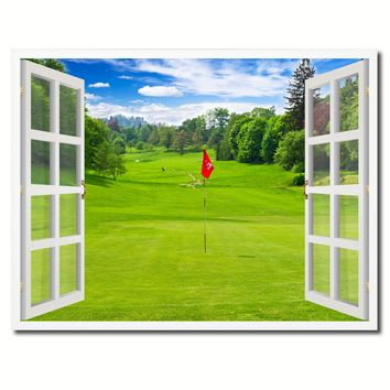 Landscape Golf Field Picture French Window Framed Canvas Print Home Decor Wall Art Collection