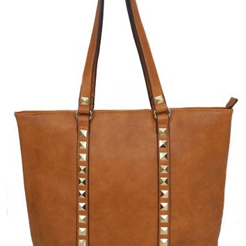 Studded Tote - Brown