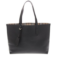 Burberry Women's The Medium Reversible Tote in Haymarket Check and Black Black