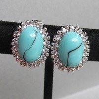 Vintage Sterling Silver Turquoise Venetian Glass & Rhinestone Oval Clip Earrings