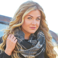 Upper East Side Plaid Scarf - Black - One