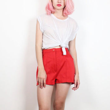 Vintage 1970s High Waisted Shorts Red Pin Tuck Pleated Sporty High Waist Track Athletic Shorts 70s Hipster Baseball Hot Pants S Small M Med