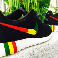 Womens and Mens Custom Rastafari color Nike Roshe Run custom design, unisex, Rasta colors, Red, Yellow, Green, Rastafari design