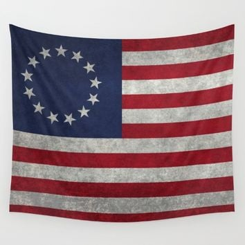 The Betsy Ross flag of the USA - Vintage Grungy version Wall Tapestry by Bruce Stanfield