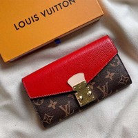 Louis vuitton fashion printed patchwork color gold button casual lady purse clutch High quality