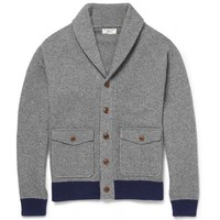 Modern Wool Grey and Blue Cardigan