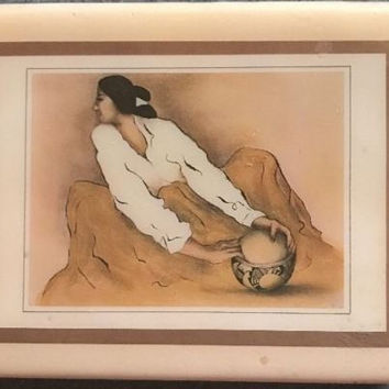 R C Gorman Art Print Crystal Tile Pottery Keeper Native American Indian Women