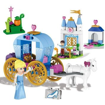 122pcs Friends Princess Cinderella Pumpkin Carriage Building Blocks Toys Compatible with Legoe 41053 Set for Girls