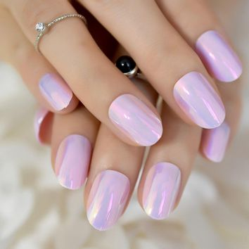 Holo Chameleon Pink Reflective Mirror False Fake Nails Tips Magic Color Abalone Shell Metallic Round Short Summer Nail Art Deco