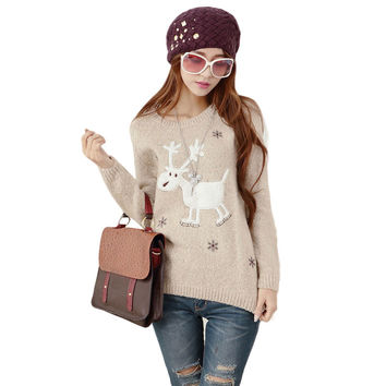 Cartoon Deer Print Long Sleeve Knitted Women's Sweater Autumn Winter 2015 Fashion Female Casual Pullover