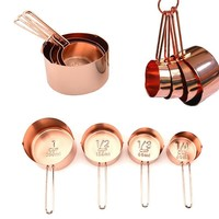 4Pcs Stainless steel Measuring Cups Copper Plated