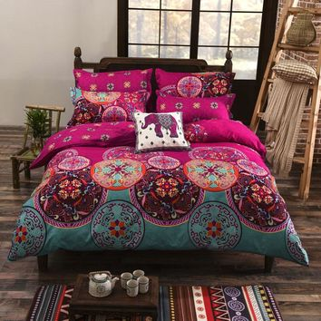 BeddingOutlet Bohemian Bedding Set Soft Colored Bedclothes for Home Boho Duvet Cover Bedlinen 4Pcs Twin Queen Panic Buying